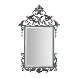 Uttermost - Beatriz Baroque Mirror - Hand Forged Metal Frame Finished In Heavily Distressed, Aged Blue-green With Rust Details. Mirror Is Beveled.
