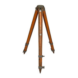 Used Vintage Wood Surveyor's Transit Telescope Tripod - We could see this vintage wood surveyor's transit tripod with adjustable wood legs and metal accents repurposed as a unusual hanging sculpture. It would also make a great gift for the shutter fly in your life! Painted orange distressed finish. Marked with number 11. No designated maker.