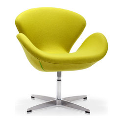 ZUO MODERN - Pori Arm Chair Pistachio Green - The Pori Chair takes its inspiration from modern European design and mixes it with American details such as the soft wool-like texture of the fabric and the vibrant color offerings.  The base is chrome with swivel.