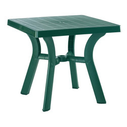 Compamia - Viva Resin Square Dining Table 31 inch Green - Viva square dining table. Strong and stable legs. Perfect for pool, beach and heavy use areas. Resistant to suntan oils, chlorine and saltwater. Has an umbrella hole and cap. Bottom piece is 14 inches high above the gorund for easy use with high umbrella bases. Easy cleaning.