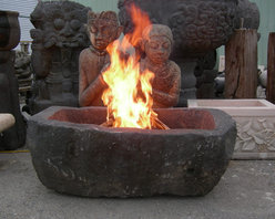 Hand Carved Lava Stone Fire Pit - Lava stone makes the perfect fire pit!  Heat is held for quite a long time in the natural material.  We recommend using natural gas or propane and covering the burner with lava stone, beach glass or lava balls.