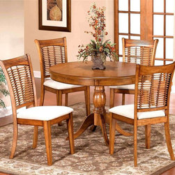 Hillsdale - Pedestal Dining Table Set with Four Bamboo Lo - For residential use. Set includes 1 Table and 4 Chairs. Made from hardwoods. Pictured in Oak. Table: 44 in. Dia. x 30 in. H. Chair: 17 in. W x 18 in. D x 38 in. HFinished in classic oak, our Bayberry collection combines the clean lines of a transitional design with the unique addition of a bamboo effect in the chair back. The chairs have a cream colored fabric seat. The round matching tables claim their own fabulous features. The round has a simple gently carved pedestal base. Made from hardwoods, this group is composed of both solids and climate controlled wood composites to prevent cracking and splitting from changes in temperature or humidity.