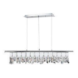 Worldwide Lighting - Nadia 13-Light Chrome Finish and Clear Crystal Linear Pendant - This stunning 13-light pendant only uses the best quality material and workmanship ensuring a beautiful heirloom quality piece. Featuring a radiant chrome finish and finely cut premium grade clear crystals with a lead content of 30%, this elegant pendant will give any room sparkle and glamour. Worldwide Lighting Corporation is a privately owned manufacturer of high quality crystal chandeliers, pendants, surface mounts, sconces and custom decorative lighting products for the residential, hospitality and commercial building markets. Our high quality crystals meet all standards of perfection, possessing lead oxide of 30% that is above industry standards and can be seen in prestigious homes, hotels, restaurants, casinos, and churches across the country. Our mission is to enhance your lighting needs with exceptional quality fixtures at a reasonable price.