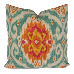 Ikat Pillow Cover By Stitched Nestings - What a beautiful combination of colors. I love the coral and turquoise combination. This is a great statement pillow for a living room.