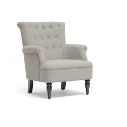 Baxton Studio - Baxton Studio Crenshaw Light Gray Linen Modern Club Chair - We know how hard it can be to find just the right chair to become YOUR chair - you know, the one you refuse to share with your spouse or children? We've designed the Crenshaw Modern Club Chair with this exact goal in mind. A living room chair to be reckoned with, the Crenshaw is made with a wooden frame, dense foam cushioning, and gorgeous light dove gray linen blend upholstery. A perfectly-placed peppering of buttons along the backrest and scrollback arm and backrest detail add refinement. Black turned wood legs with non-marking feet complete the chair you won't want to spend an evening without. The Chinese-made modern living room chair requires minimal assembly and should be spot cleaned. The Crenshaw Chair is also available in dark charcoal gray (sold separately). '
