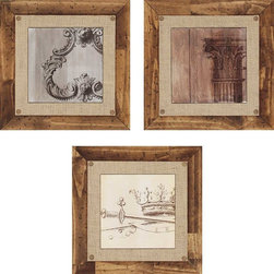 Paragon Decor - Elegance III Set of 3 Artwork - Giclees feature hand painted bevels and burlap fabric matting with decorative tacks.  Frame is hand stained and distressed.