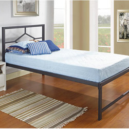K and B Furniture Co Inc - K&B Twin-size Metal Bed with Pop Up Trundle - This convenient pop-up bed accepts twin size mattresses and includes a platform with metal slats so there is no need for a box spring or separate bed frame. The collapsible trundle fits beneath  the daybed and lifts up easily when needed.