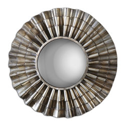 Ruffled Metal Manzoni Round Convex Mirror - *Frame Is Hand Forged, Scalloped Metal Finished In An Oxidized Nickel Plating With Light Burnishing And An Antiqued Convex Mirror