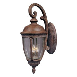 Maxim Lighting - Maxim Lighting 3465CDSE Knob Hill Cast 3-Light Outdoor Wall Lantern in Sienna - Knob Hill Cast is a traditional, European style collection from Maxim Lighting international in sienna finish with seedy glass.