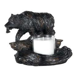 Cal Lighting - Cal Lighting TA-878Lc Bear W/Fish Candle Holder - Bear W/Fish Candle Holder