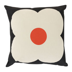Daisy Face Throw Pillow in Black - Add soft, whimsical décor to your home with the Daisy Face Throw Pillow. Made in Portugal from a cotton-linen blend fabric, it will add a fresh pop of retro style wherever you toss it.