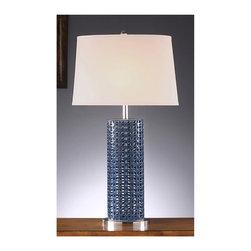 """Crestview - Crestview CVAP1253B Maura Blue Table Lamp - Maura Blue Table Lamp   32"""" Ht."""
