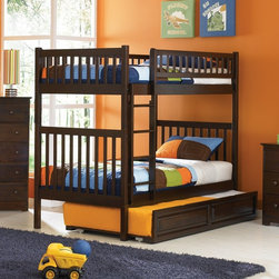 Atlantic Furniture - Arizona Twin Bunk Bed w Trundle in Antique Wa - Comes with a slat kit for mattress support. Includes two 14 pieces engineered hardwood slat kits. Includes trundle. Mattresses not included. Made of premium, eco-friendly hardwood with a 5-step finishing process. Solid hardwood Mortise & Tenon construction. 26-Steel reinforcement points. Designed for durability. Guard rails match panel design. Meet or exceed all ASTM bunk bed standards, which require the upper bunk to support 400 lbs.. Clearance from floor without trundle or storage drawers: 11.25 in.. 78.88 in. L x 42.63 in. W x 67.13 in. H. Flat panel drawers: 74 in. L x 22 in. W x 12 in. H. Raised panel drawers: 74 in. L x 24.38 in. W x 12 in. H. Optional raised panel trundle: 74.75 in. L x 40.38 in. W x 11.63 in. H. Bunk Bed Warning. Please read before purchaseThe Arizona has a clean, modern look with subtle Mission styling.
