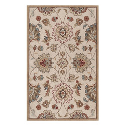 Surya - Hand Tufted Kingston Rug KGT-2003 - 2' x 3' - The styling of the Kingston collection is undoubtedly eclectic, incorporating the latest fashion colors of modern interiors with the classic lines of today's fabrics and accents. Set against a solid background the curving florals appear to dance across the rug. These painstakingly hand tufted beauties can be called colorfully neutral, and will compliment any space where traditional meets modern. Made in China from 1% polyester.