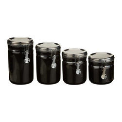 Anchor Hocking - Black Canister 4-Piece Set - Our 4-Piece Black Ceramic Canister set keeps your sugars, seasonings, coffees organized and secure in the stylish way. Perfect for your pantry but cute enough for your countertop.