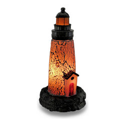 Zeckos - White Crackled Glass Light House Accent Lamp Night Light Lamp - This white light house lamp adds a finishing touch to any room with a nautical or beach theme, or the home of a light house collector! Hundreds of crackled glass pieces create the body of this light house lamp that creates a soft glowing light that's housed in a cast resin base with an antique bronze finish, and looks great used as a night light in an entryway, dark hallway or even the bath. It's great for the desk or a shelf at the office at 9 inches high and 4 inches in diameter (23 X 10 cm). It easily turns on or off via the rocker switch on the 67 inch long black cord, and it uses one 7 Watt (max) Type T bulb (included). It's amazing as a gift for a light house lover sure to be admired!