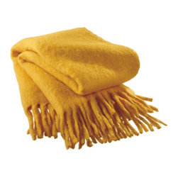 Sunny Disposition Throw in Yellow - Cuddle up in vibrant comfort with this throw of sunny disposition. This throw keeps your body heat close and looks great whether it's draped over the back of a couch, smoothed over a bed, or wrapped around you and a friend.