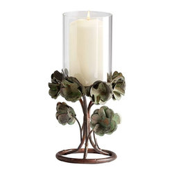 Cyan Design - Cyan Design Small Leigh Green Rose Candleholder, Bronze Patina - -Bronze Patina Finish