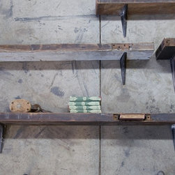 Salvage Kitchen Shelf - These salvaged kitchen shelves add a rustic and industrial touch to any space. I'm thinking Lowell textile mills meets Andy Warhol's Factory. They're a bit on the pricey side, but it's fun to sit back and romanticize about where the shelves originated.