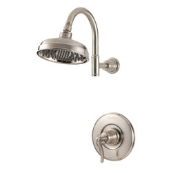 Price Pfister - Pfister G89-7YPK Ashfield Brushed Nickel Shower Only Trim Kit - The Pfister G89-7YPK is a brushed nickel single handle pressure balance shower only trim kit from the Ashfield collection which lends vintage design for a more traditional look to you bathroom.