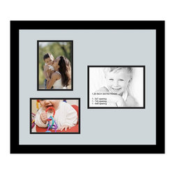 ArtToFrames - ArtToFrames Collage Photo Frame  with 1 - 6x8 and 2 - 5x7 Openings - This classic Satin Black, 1.25 inch wide collage frame, features a setup for 1 - 6x8 and 2 - 5x7 artwork of your choice. This collage is part of an extensive collage frame selection and boasts a vast line of premium quality frames at a price you can feel good about! Handmade and created to outfit your artwork making sure you 1 - 6x8 and 2 - 5x7 art will fit right in. Bordered in a vivid prominent Satin Black, high-end frame and surrounded by a sophisticated Baby Blue mat, the collage arrangement truly highlights your very own prized artwork, and most cherished memories in an entirely incredible and creative way. This collage frame comes protected in Regular Glass, ready with appropriate hardware and can be displayed in the blink of an eye. These superior quality and naturally wood-based collage frames change in design and dimension; all in contemporary and modern design. Mats are available in a myriad of color tones, openings, and shapes. It's time to tell your story! Preserving your displaying your memories in an original and brilliant contemporary way has never been easier.