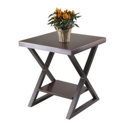 Winsome Wood - Korsa End Table, Dark Bronze - Our Korsa Table Collection adds a special look to your living room. This End Table comes with veneer top in cappuccino and X-shape metal legs in bronze finish.