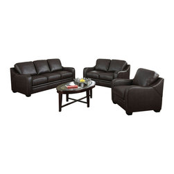 "Acme - 2-Piece Acker Collection Dark Brown Bonded Leather Match Sofa and Love Seat Set - 2-Piece Acker collection two tone dark brown bonded leather match upholstered sofa and love seat set. This set includes the sofa and love seat with padded backs and slim modern arms. Sofa measures 80"" x 37"" x 35"" H. Love seat measures 58"" x 37"" x 35"" H. Chair also available separately at additional cost. Some assembly may be required."