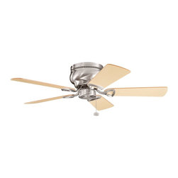 "BUILDER FANS - BUILDER FANS Stratmoor 42"" Transitional Flush Mount Ceiling Fan X-SSB710933 - From the Stratmoor Collection, this Kichler Lighting ceiling fan features a clean and crisp Brushed Stainless Steel finish that compliments the warm tones of the five reversible oak fan blades."