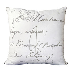"""French Script Pillow - 18"""" x 18"""" - Soft and cozy cotton lend a feeling of comfort to the French Script pillow, a classic, lovely accessory that is casually elegant and would look great perched at either end of your sofa or in your favorite chair. This pillow is one of those accessories that can be utilized in many decor spaces while looking as if it was meant to be in that space all along. Perfect for a more transitional look that has a lot of white in it."""