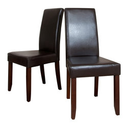 Simpli Home - Acadian 2 Pack Brown Faux Leather  Parson Chair - What you need is an affordable and attractive dining chair to match your dining table.  The Acadian Parson Chair is a tasteful, well made seating solution to solve all of your problems.  It is made from durable Brown Faux Leather and features a beautiful stiched leather exterior.  Whether you use this parson chair in your dining room, kitchen, office or basement, this chair is an easy to assemble and stylish answer to your needs. Sold 2 pieces chairs package.