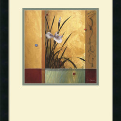 "Amanti Art - ""Sanctuary"" Framed Print by Don Li-Leger - Serenity now? Your decor will always feel peaceful and at ease, when you hang this elegant iris print on your wall. The contrasting colors bring intrigue to the piece, which comes framed in black satin wood, for an overall sophisticated, pleasing look."