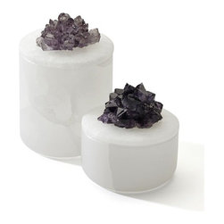 Large Amethyst Cluster Box - Beautiful amethyst clusters atop these round boxes make organizing jewelry, small office supplies or other trinkets a chic event.