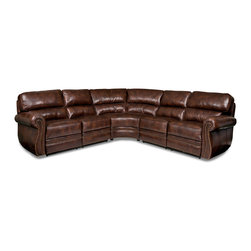 Randall Allan - Woodlands Sectional - Get the pennants and plaid and preppy partygoers. This large sectional sofa is truly Ivy League. It features scrolled arms with nailhead trim and chocolate leather that gives the look of age and academics. It's comfy and stylish and nearly big enough to fit your whole fraternity or sorority.