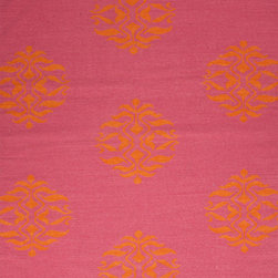 Jaipur Rugs - Flat-Weave Tribal Pattern Wool Pink/Orange Area Rug, 8' x 10' - An array of simple flat weave designs in 100% wool - from simple modern geometrics to stripes and Ikats. Colors look modern and fresh and very contemporary.
