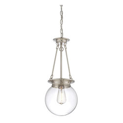 "Savoy House - Savoy House Glass Orb Single Globe Pendant Light in Polished Nickel - Shown in picture: Glass Orb 9"" Pendant in Polished Nickel Finish"
