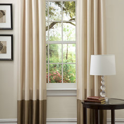 Lush Decor - Prima Ivory/ Taupe Curtain Panels (Set of 2) - Give your window the look of an upscale spa with these classic curtain panels. The pale ivory color complements the darker taupe shade at the bottom, creating a soft and rich look, and the loops along the top make hanging the pieces easy.
