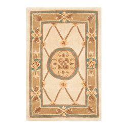 Safavieh - Naples Ivory and Caramel Rectangular: 5 Ft. x 8 Ft. Rug - - Exquisite traditional rugs inspired by classic beauty and current enough for everyday decors  - Pile Height: 0.63  - Construction: Hand Tufted  - Shedding is a normal occurrence and will reduce over time with frequent vacuuming. It is also recommended that you vacuum regularly to prevent dust and crumbs from settling into the roots of the fibers. AVOID DIRECT AND CONTINUOUS EXPOSURE TO SUNLIGHT. USE RUG PROTECTORS UNDER THE LEGS OF HEAVY FURNITURE TO AVOID FLATTENING PILES. DO NOT PULL LOOSE ENDS CLIP THEM WITH SCISSORS TO REMOVE. TURN CARPET OCCASIONALLY TO EQUALIZE WEAR. REMOVE SPILLS IMMEDIATELY ; IF LIQUID BLOT WITH CLEAN UNDYED CLOTH BY PRESSING FIRMLY AROUND THE SPILL TO ABSORB AS MUCH AS POSSIBLE. FOR HARD TO REMOVE STAINS PROFESSIONAL RUG CLEANING IS RECOMMENDED. STORE IN A DRY WELL-VENTILATED AREA. USE OF A RUG PAD IS RECOMMENDED. Safavieh - NA523B-5