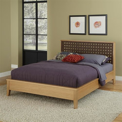 "HomeStyles - Queen Bed (Queen) - Choose Size: QueenThe ""Rave"" Queen Bed incorporates clean lines and sleek styling to this urban design. This bed is constructed of hardwood solids and straight grain white oak veneers in a highlighted blonde finish. The leather open weave headboard is angled and supported for maximum comfort and stability. The dark leather accentuates the beauty and wood grain consistency of the highlighted blonde finish. 62.5 in. W x 90.5 in. D x 42 in. H"