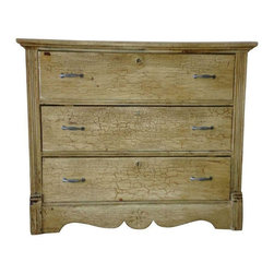Amish Country Shabby Chic Dresser - This handmade antique dresser was made in the 19th Century near Philadelphia. It features dovetail joinery, original milk paint finish, and pewter handles. The moldings on the piece are original and the sunflower details give the piece added charm.
