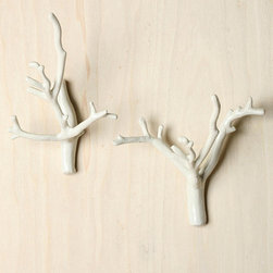Branch Hook, White - I love these little branches! At $20 for a set of two hooks, I find these very affordable. They may only be ideal for scarves and light sweaters, but they sure would add a lot of visual interest to a plain wall.