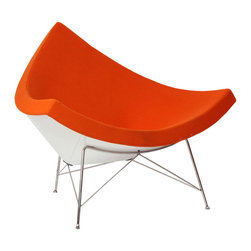 #N/A - The Coconut Chair - The Coconut Chair. The Coconut Chair is made from a Wool blend fabric with hand laid fiberglass body and stainless steel legs.