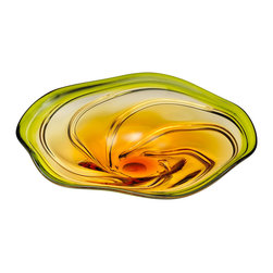 Kathy Kuo Home - Green Yellow Orange Flower Art Glass Swirl Platter - The flowing motion of swirled glass comes vividly to life in the curves of this contemporary, citrus shaded bowl.  Like an oversized abstract flower, this piece beautifies any space.