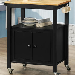 Sunset Trading - 31.5 in. Eco-Friendly Kitchen Cart - Natural hardwood Butcher block top. Towel bar and cup or utensil hooks add style, multifunctional and quality. Convenient mobile design with locking wheels. Durable piece sure to be welcome addition to any dining area. Ease of access for a variety of storage options. One open shelf for storage or display. One cabinet for hidden storage. Three hooks for cups or utensil storage, black base with natural wood top and wood pull knobs. Warranty: One year. Made from Malaysian oak solids and veneers. Black finish. Made in Malaysia. Assembly required. 31.5 in. L x 19 in. W x 35 in. H (62 lbs.)Add plenty of extra storage space to your kitchen, dining or entertainment room with this versatile Sunset Trading cart. Maximize the functionality of your kitchen with style by adding a kitchen cart from Sunset Trading Sunset Dining Collection. Increase your kitchen storage and functionality for years to come without breaking the budget!