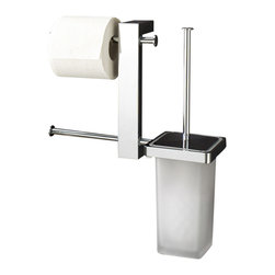 Gedy - Wall Mount Chrome Rack With Tissue Holder and Toilet Brush - Wall mounted rack with double toilet roll holder and toilet brush holder.