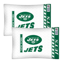 Store51 LLC - NFL New York Jets Football Set of Two Pillowcases - Features: