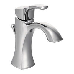 Moen - Moen 6903 Chrome Voss Single Handle Bathroom Faucet from the Voss - Product Features:  Metal faucet body construction ensures durability and reliability for the life of the faucet Covered under Moen s limited lifetime faucet warranty Premier finishing process - finishes will resist corrosion and tarnishing through everyday use Crisp edges and simple styling gives the Voss Collection an ageless, yet fashion-forward presence. Single handle operation Includes optional escutcheon (cover plate) - for sinks with 3 faucet holes ADA compliant - complies with the standards set forth by the Americans with Disabilities Act for bathroom faucets Low lead compliant - meeting federal and state regulations for lead content WaterSense certified product - using at least 30% less water than standard 2.2 GPM faucets, while still meeting strict performance guide lines Complete with required valve system Designed for use with standard US plumbing connections All hardware needed for mounting is included with faucet  Product Technologies / Benefits:  Duralast Cartridge: An exciting new proprietary cartridge design that offers a smooth feel and reliable operation of a new faucet from the first use to the last use. This new cartridge combines innovative engineering and the highest quality materials. It surpasses conventional durability standards to withstand the toughest conditions, including hard water. LifeShine Non-Tarnish Finish: Moen LifeShine finishes are guaranteed not to tarnish, corrode or flake off for the duration of their life. Providing the durability and wearability of chrome in a variety of beautiful, decorator-inspired finishes. The LifeShine finish is in the surface rather than on it, resulting in color stability for a lifetime. The PVD technique used also helps to eliminate hazardous by-products during manufact