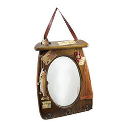 Rustic Wooden Fisherman Wall Mirror with Hooks - This rustic wooden wall mirror is the perfect gift for the fishing enthusiast in your life! It measures 18 inches tall, 12 3/4 inches wide, 3/8 of an inch deep with the oval mirror measuring 11 1/2 inches long and 7 3/4 inches wide. Details such as resin hand-painted fish, a piece of netting, and vintage insipred fishing photos add to this piece`s outdoorsy charm. Hang on the wall by the brown pleather strap with a 7 inch drop as a decorative piece, or attach securely by the hooks on the back. There are three metal double hooks along the bottom edge to hang your favorite fly vest, lucky hat and a few other accessories.