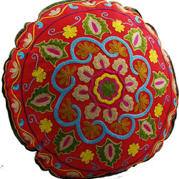 Red Swirl Round Floor Pillow - Sitting on the floor has never been more comfortable or colorful. This hand-embroidered floor pillow's red base and green leaves give it a festive feel that'll make your movie nights and floor picnics that much merrier. When not in use, pile a few in the corner or prop up on the sofa for a cheery kaleidoscope of color.