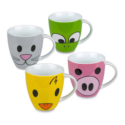 Konitz - Set of 4 Mugs Zoo (Pig, Duck, Frog & Cat) - The whole family is sure to love this 4-piece mug set - especially children and grandchildren! Set includes a pig, duck, frog, and kitten. Miniaturized mug stands 3 1/4 inches tall, the perfect size for a little one's serving of hot chocolate or milk. Front of the mug showcases the animal's face while the back of the mug shows the tail.