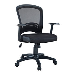 Pulse Mesh Office Chair - Drive onward in your office tasks with this upright and ergonomic mesh office chair. Let the breathable mesh back and plush fabric cushion seat serve as a simple extension to your everyday home and business ventures. Pulse includes a passive lumbar support and two sturdy armrests to help keep your posture vertical and potent. Fitted with five hooded dual-caster wheels, give yourself the ability to easily glide over carpeted floors while correctly guessing your next destination.